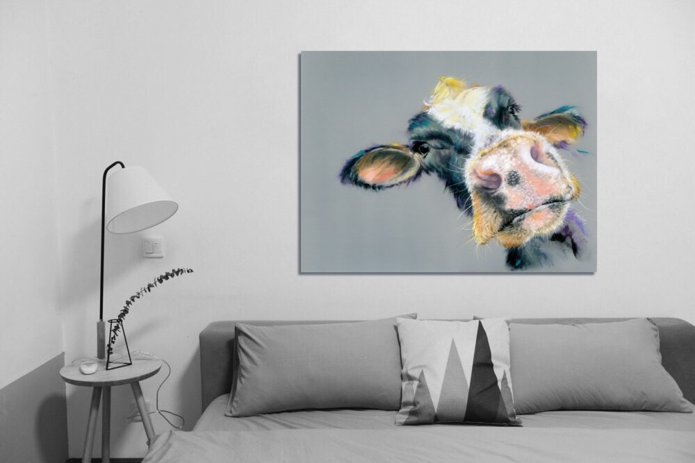 Cow canvas prints with sofa