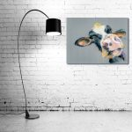 Cow canvas prints with lamp